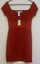 NWT $118 Women's Max Studio SS Layered Ruffled Body Con Dress, Ruby, M.