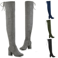Womens Thigh High Boots Ladies Over The Knee Lace Up Long Low Mid Heel Shoes 3-8