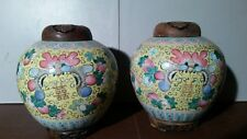 """Pair Of 2 Large Antique Ginger Jar Handmade  WIth Wood Lid and Base 8X10"""""""