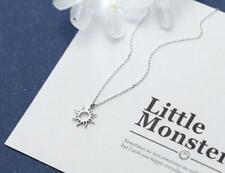 925 Sterling Silver Simple Tiny Hollowed Sun Pendant Women Necklace A2170