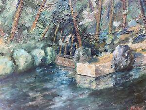 FERNAND AUDET (1923-2016) FRENCH IMPRESSIONIST OIL - DAPPLED SUN WOODLAND RIVER