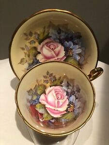 Vintage Aynsley J A Bailey Signed Tea Cup & Saucer Cabbage Rose