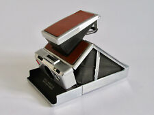 Polaroid SX-70 LAND CAMERA di lavoro in pelle marrone e cromo con custodia in pelle