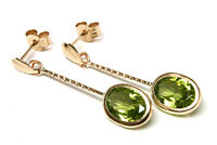 9ct Gold Peridot oval Long drop earrings Made in UK Gift Boxed Birthday Gift