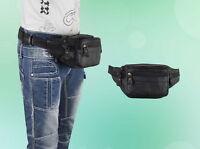 Outdoor Bauchtasche Gürteltasche Hüfttasche Angeltasche Echt Leder Schwarz NEU