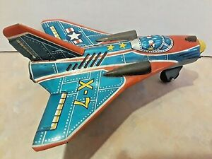 ALL TIN JAPANESE FRICTION X-7 SKY ROCKET AIRPLANE JET -NICE