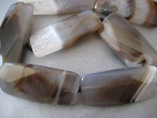 Botswana Agate Faceted Rectangle Beads 7pcs