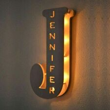 Personalized Decor Custom Letter Lamp Wooden Engraved Name Wall LED Night Light
