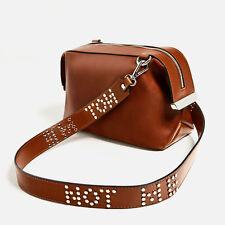NEW ZARA STUDDED BROWN TAN CROSSBODY BAG WITH SLOGAN HANDBAG SHOULDER BAG