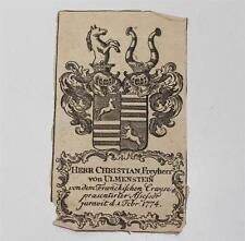 antiker Druck Stich Wappen Christian Freyherr von Ulmenstein 1774 #E678