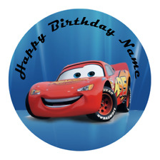 Disney Cars Personalised Edible Kids Party Cake Decoration Topper Round Image