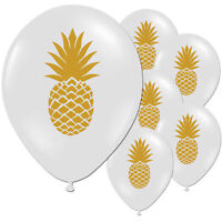 Tropical Hawaiian Gold Pineapple Summer Birthday Party White Latex Balloons
