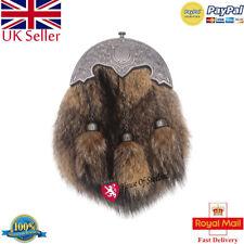 HS Scottish Full Dress Kilt Sporran Fox Fur Lion Rampant Cantel Chrome Finish