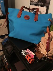 Dooney And Bourke Nylon Braided Handle Shopper In Turquise NWT