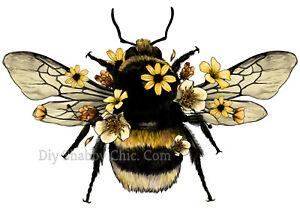 Waterslide Furniture Wall Wood Decal DIY Art Vintage Image Transfer Floral Bee