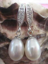 Exquisite WHITE DROP Fresh Water PEARL 925 Sterling Silver & Clear Stones HOOK