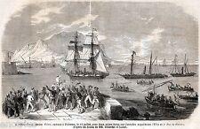 Palermo: la pirofregata Tukery con due navi catturate. Sicilia.Risorgimento.1860