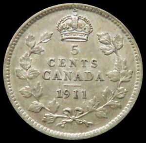 1911 SILVER CANADA 5 CENTS KING GEORGE V COIN ABOUT UNCIRCUALTED