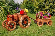 TRATTORE con rimorchio da cesto intrecciato, rattan, cesti, pflanzkorb, pflanzkasten