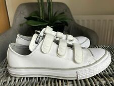 Converse All Star Velcro White Leather Trainers Sneakers UK 2 US 2.5 EU 34
