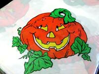Halloween Tablecloth Plastic Smiling Pumpkin 52 x 72 Jack O Lantern Lot 2 VTG