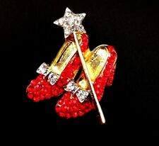 Lovely vintage Wizard of Oz Dorothy shoes & wand red rhinestone brooch
