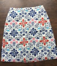 NWOT Boden A Line Cotton Print Skirt Size US 6 White Blue Red Pink