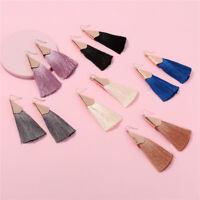Women Fashion Bohemian Earrings Long Tassel Fringe Dangle Drop Ear Stud Jewelry