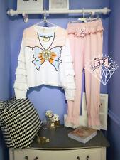 Sailor Moon Pajama Set Flounced Stretch Lounge Womens Girls Dress Cotton Anime A