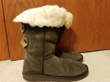 EMU Australia Suede Boots Merino Wool Lined Gray w/Brown Tabs Womens 9 Calf high