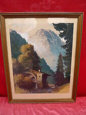 bello,vecchio immagine__acquerello__Mulino ad Acqua in den montagne__Autografato
