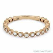 0.41 ct Round Cut Diamond Wedding Band 14k Rose Gold Stackable Anniversary Ring