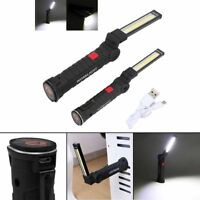 1/2Pcs COB LED Rechargeable Work Light Magnet Flashlight w/ Hook Fold Torch Lamp