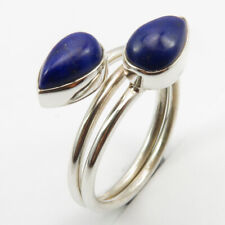 Cab LAPIS LAZULI Ring Sz 6 Solid Sterling Silver Nouveau Handmade Jewellery