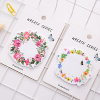 2Pcs Cute Wreath Sticky Notes Diary Adhesive Note Stickers Stickers Memo Pad