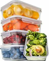 [5-Pack] Glass Containers Food Storage/Prep Containers with Lids