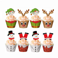 24/48PCS Christmas Cake Wrappers Toppers Cupcake Decoration Cake Picks Set