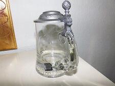 Kristallglas Mundgeblasen Handgeschliffen Hopfen Zinndeckel Bierkrug Top Zustand