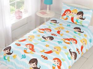 Mermaids Fish Children's Kids Bedding Set Duvet Cover Toddler Single Double