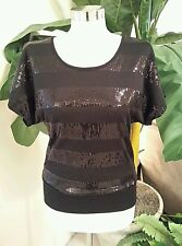 Black Sequined Sequin Holiday Top Shirt Blouse Dressy Club Party