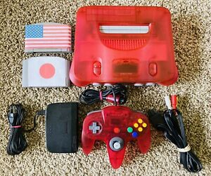 Authentic Watermelon Clear Red Nintendo 64 N64 Console OEM + GAMES *REGION FREE*