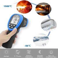 Handheld Pro Digital Infrared Thermometer Gun 1500℃ Double Laser High Temp Meter