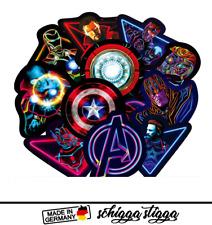 30 Neon Marvel / DC / Avengers Superheld Aufkleber Auto | PC | Laptop | Style