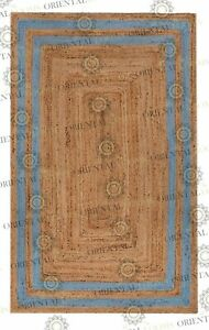 Double Border Classic Blue Jute Hand Made Rug, Decor Rug Customize in Any Size..