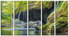 Tropical Waterfall Print on Canvas 5 Panel Wall Art Framed and Ready to Hang