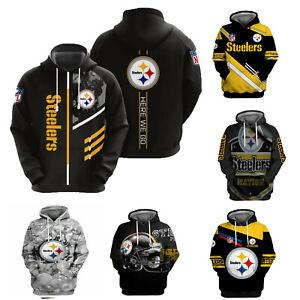 Pittsburgh Steelers Men Hoodie Pullover Hooded Sweatshirt Football Casual Jacket