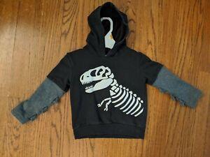 Koala Kids Dinosaur Skeleton Black Gray Scales Sweatshirt Halloween Hoodie 2T