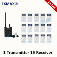 Exmax Fm Wireless Audio Church Translation System 60-108Mhz For Meeting 1T15R
