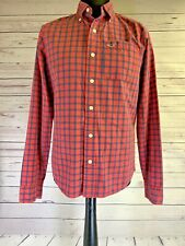 HOLLISTER Mens Shirt Large | Red & Blue Check Cotton | Long Sleeve