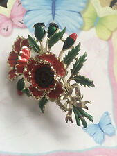 Vintage  Exquisite Poppy Brooch  - BIRTHDAY BROOCH  - GREAT CONDITION